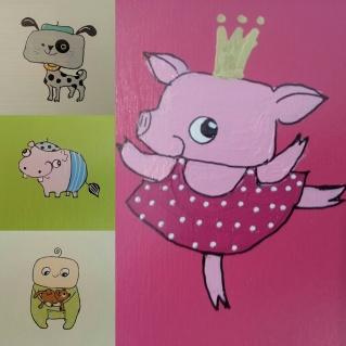 Motiv: hund, flodhäst, pojke, gris
